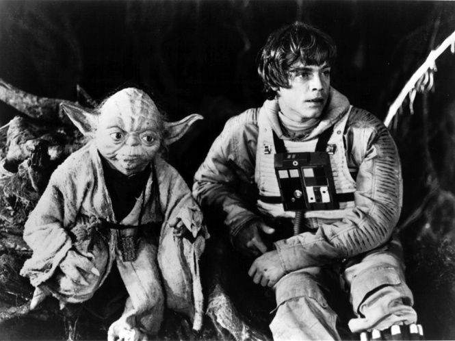Yoda and Luke B&W Star Wars ESB